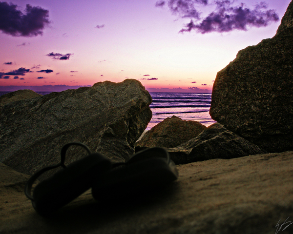 flip flops at sunset