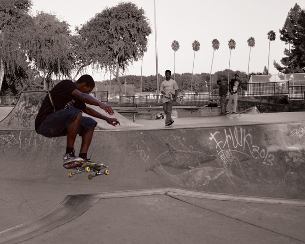Hezekiah Seales skating in Long Beach