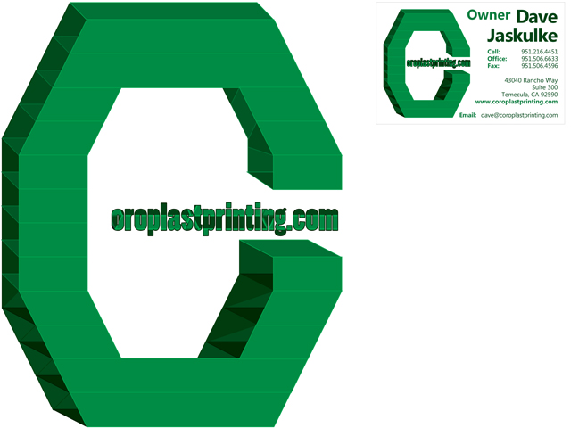 Coroplast Printing Logo and Business Card Design 1