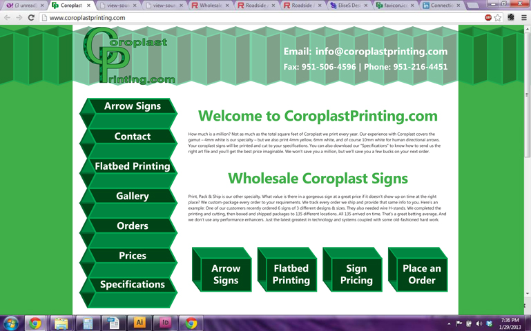 Coroplast Printing Website Design