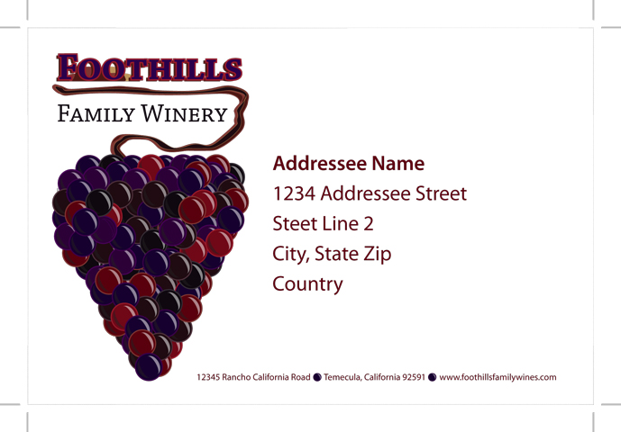Foothills Winery Shipping Labels