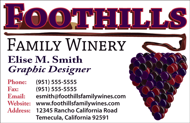 Foothills Winery Business Card