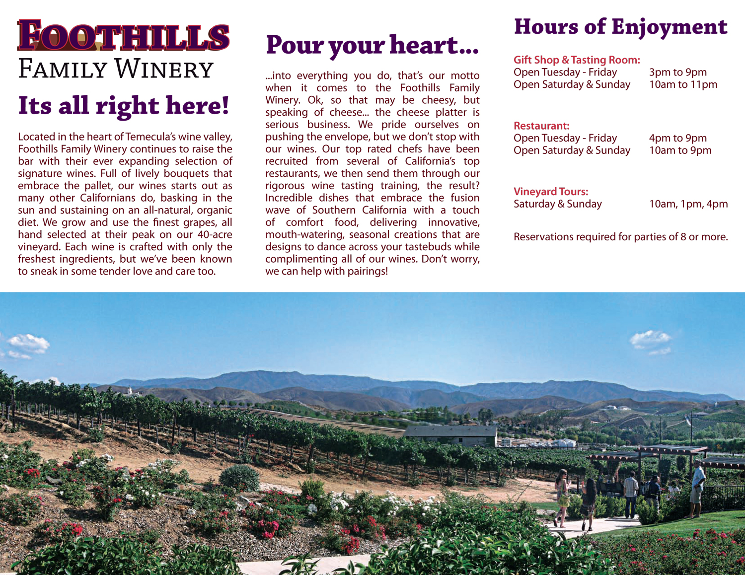 Foothills Winery Trifold Brochure Front