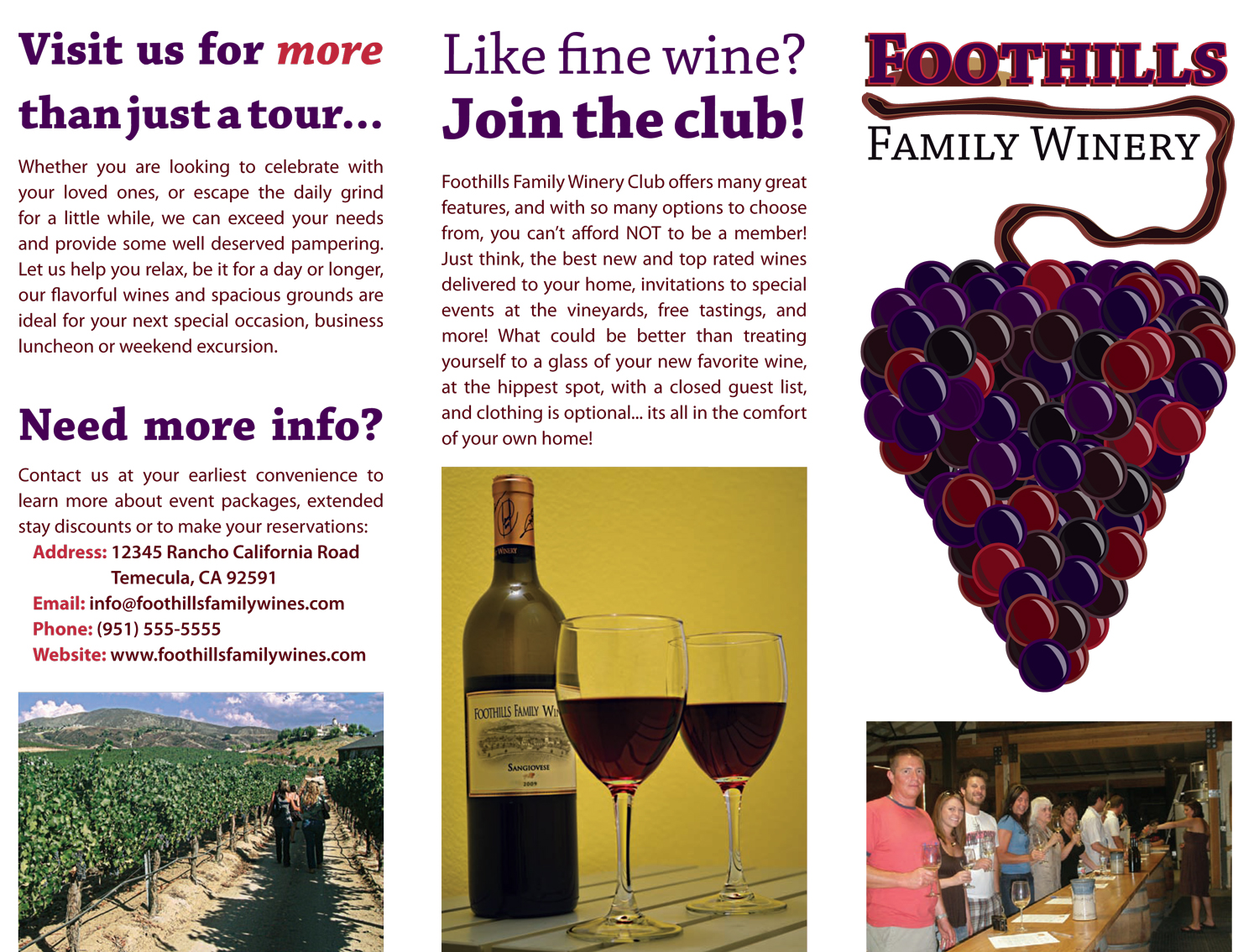 Foothills Winery Trifold Brochure Back
